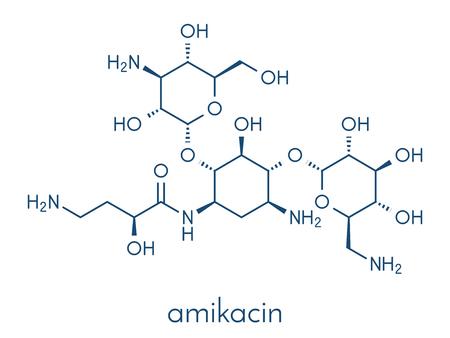 Amikacin aminoglycoside antibiotic molecule.a. Illustration