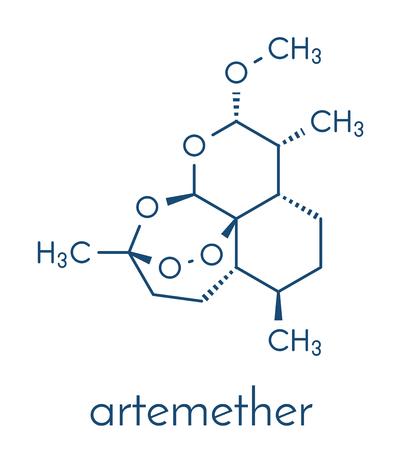 Artemether malaria drug molecule. Illustration