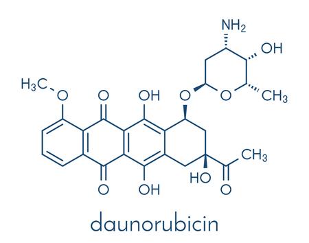 Daunorubicin (daunomycin) cancer chemotherapy drug molecule.