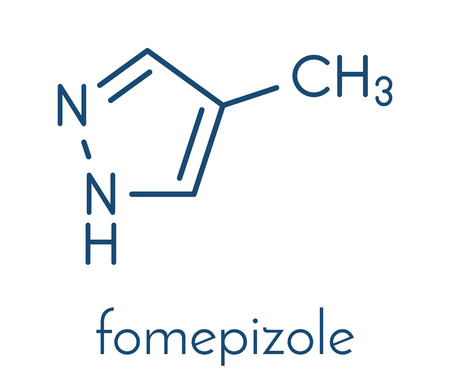 Fomepizole methanol poisoning antidote molecule. Illustration