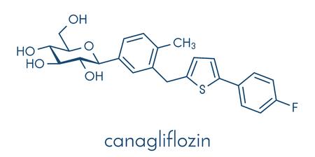 Canagliflozin diabetes drug molecule. Ilustrace