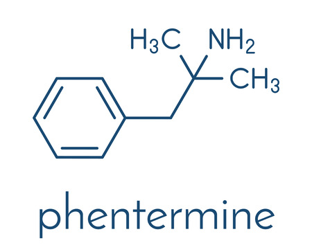 Phentermine appetite suppressant drug molecule.