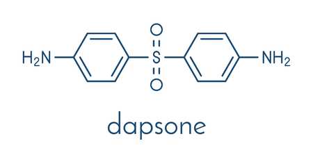 Dapsone antibacterial drug molecule. Illustration