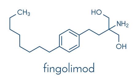 Fingolimod multiple sclerosis (MS) drug molecule. Stock Vector - 89975956