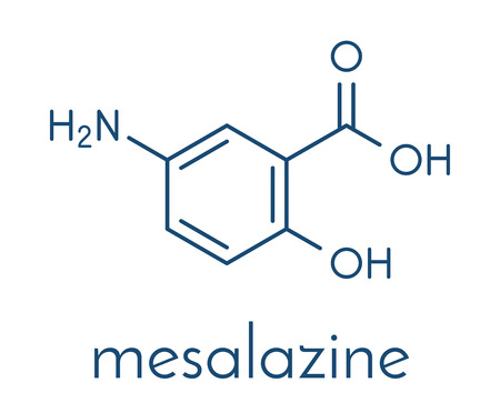 Mesalazine (mesalamine, 5-aminosalicylic acid, 5-ASA) inflammatory bowel disease drug molecule. Çizim