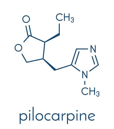 Pilocarpine alkaloid drug molecule. Illustration
