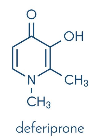 Deferiprone thalassaemia major drug molecule. Ilustrace