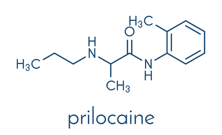 Prilocaine local anesthetic drug molecule.