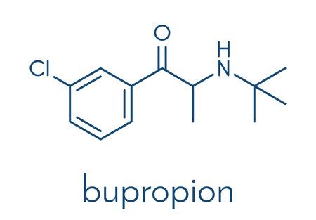 L'antidépresseur Bupropion et la molécule de médicament pour arrêter de fumer.