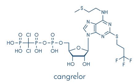 Cangrelor antiplatelet drug molecule. Ilustração