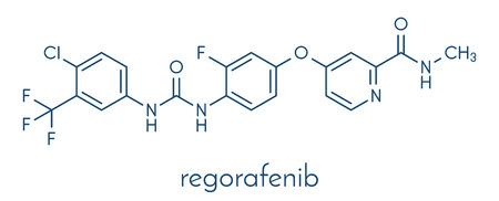 Regorafenib cancer drug molecule. Vektoros illusztráció