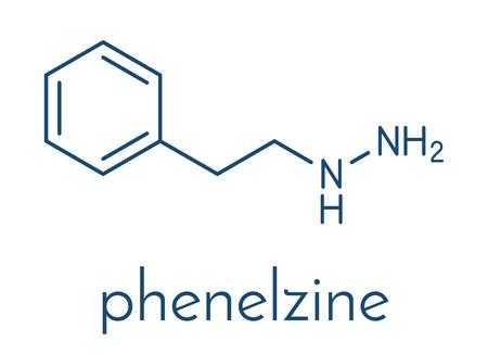 Phenelzine antidepressant molecule. Belongs to hydrazine class of antidepressants. Skeletal formula. Stockfoto