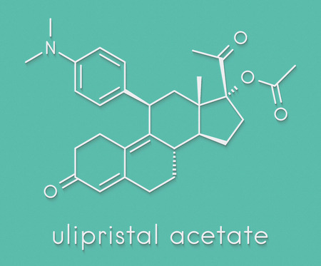 Ulipristal acetate contraceptive drug molecule. Used in emergency contraception tablets (morning-after pill). Skeletal formula. Stock Photo