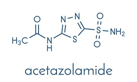 Acetazolamide diuretic drug molecule (carbonic anhydrase inhibitor). Skeletal formula. 版權商用圖片