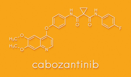 Cabozantinib cancer drug molecule. Inhibitor of c-Met and VEGFR2 tyrosine kinases, used in treatment of medullary thyroid cancer. Skeletal formula. Stock Photo