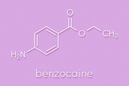 Benzocaine local anesthetic drug molecule. Skeletal formula.