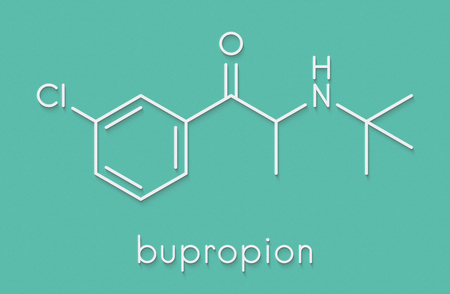 Bupropion antidepressant and smoking cessation drug molecule. Skeletal formula. Stock Photo