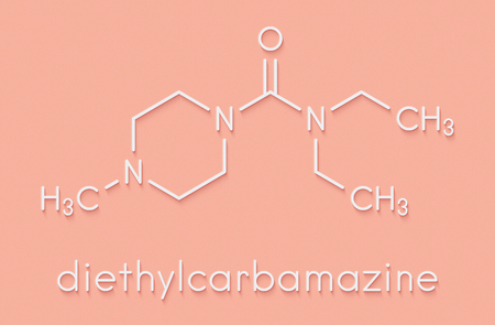 Diethylcarbamazine anthelmintic drug molecule. Skeletal formula.