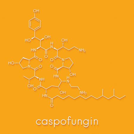 Caspofungin antifungal drug molecule. Skeletal formula. Stock Photo