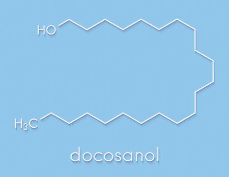 Docosanol (behenyl alcohol) antiviral drug molecule. Used in treatment of cold sores (herpes simplex virus). Skeletal formula.