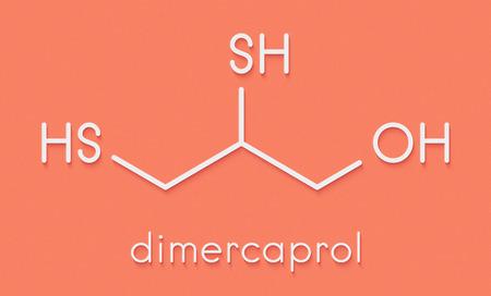 Dimercaprol (BAL, British Anti-Lewisite) metal poisoning antidote molecule. Skeletal formula. Stock Photo