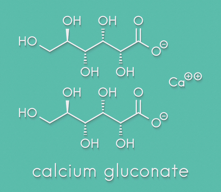 Calcium gluconate drug. Soluble form of Ca, used to treat magnesium overdose, hypocalcemia and hydrofluoric acid (HF) burns. Skeletal formula.