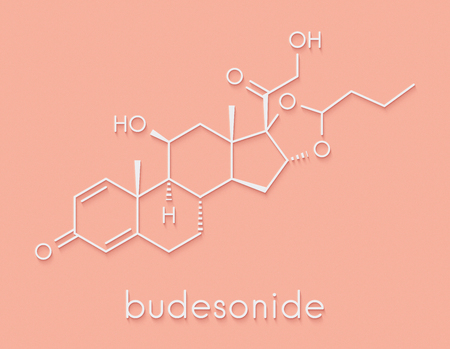 Budesonide corticosteroid drug. Used in treatment of COPD, asthma, ulcerative colitis, hay fever, Crohns disease, etc. Skeletal formula.