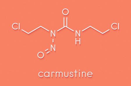 Carmustine (BCNU) cancer chemotherapy drug molecule. Skeletal formula. Stock Photo