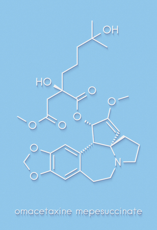 Omacetaxine mepesuccinate cancer drug molecule. Used in treatment of chronic myelogenous leukemia (CML). Skeletal formula.