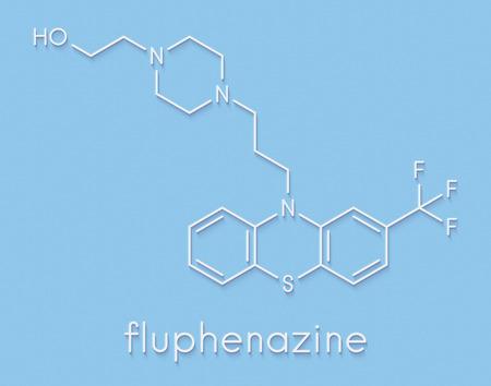 Fluphenazine antipsychotic drug molecule. Skeletal formula. Stock Photo