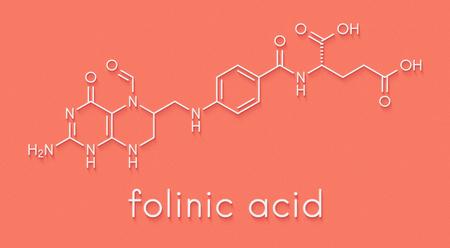 Folinic acid (leucovorin) drug molecule. Used as adjuvant during cancer chemotherapy with methotrexate. Skeletal formula. Stock Photo