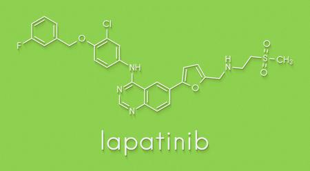 Lapatinib cancer drug molecule. Dual tyrosine kinase inhibitor, used in treatment of breast cancer. Skeletal formula.
