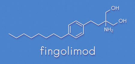 Fingolimod multiple sclerosis (MS) drug molecule. Skeletal formula. Stock Photo - 90596902