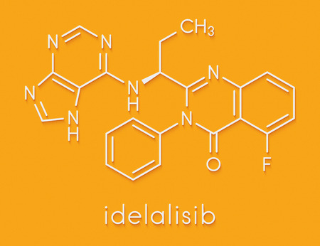 Idelalisib leukemia drug molecule. Inhibitor of phosphoinositide 3-kinase (PI3K). Skeletal formula.