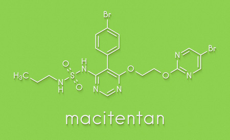 Macitentan pulmonary arterial hypertension drug molecule. Belongs to Endothelin Receptor Antagonist class. Skeletal formula.