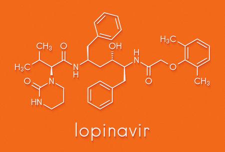 Lopinavir HIV drug molecule. Protease inhibitor class antiretroviral. Skeletal formula.