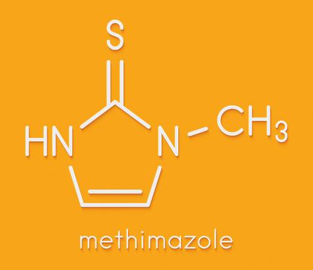 Methimazole hyperthyroidism drug molecule. Skeletal formula. Stock Photo