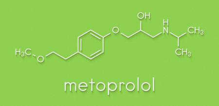 Metoprolol high blood pressure drug molecule (beta blocker). Skeletal formula.