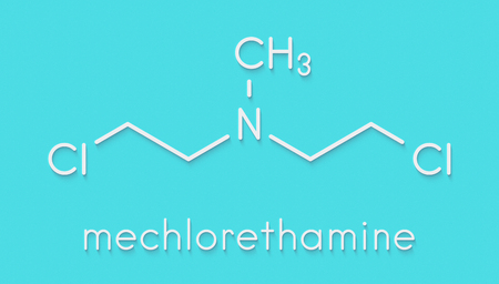 Chlormethine (mechlorethamine, mustine, HN2) cancer chemotherapy drug molecule. Nitrogen mustard compound also used a blister agent (chemical weapon). Skeletal formula. Stock Photo
