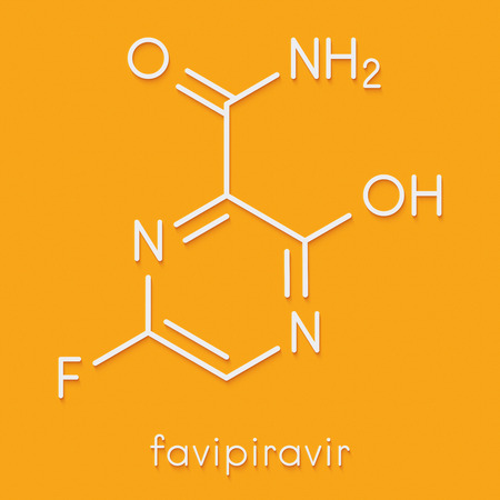Favipirivir antiviral drug molecule. Used in treatment of Ebola virus. Skeletal formula.