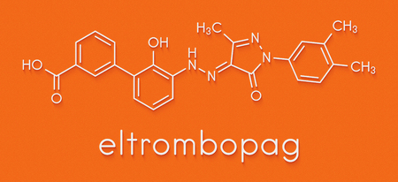 Eltrombopag thrombocytopenia (low blood platelet count) drug molecule. Skeletal formula. Foto de archivo