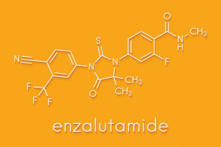 Enzalutamide prostate cancer drug molecule. Skeletal formula.
