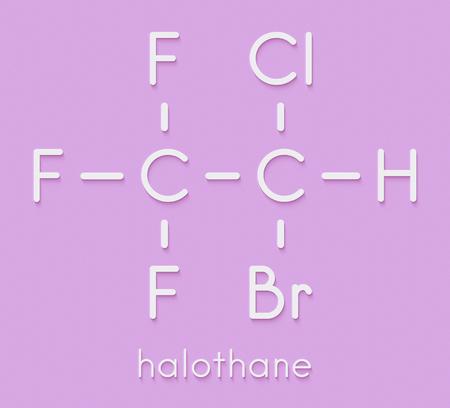 Halothane general anesthetic drug molecule. Skeletal formula.