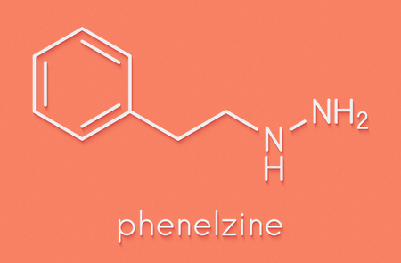 Phenelzine antidepressant molecule. Belongs to hydrazine class of antidepressants. Skeletal formula. Stock Photo
