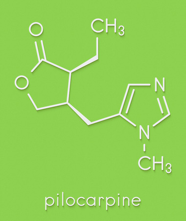 Pilocarpine alkaloid drug molecule. Used in treatment of glaucoma and dry mouth (xerostomia). Skeletal formula.