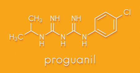 Proguanil prophylactic malaria drug molecule. Skeletal formula.