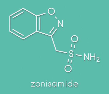 Zonisamide epilepsy drug molecule. Skeletal formula. Stock Photo