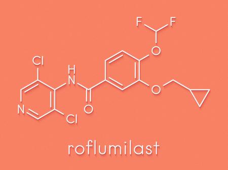 Roflumilast COPD drug molecule (PDE4 inhibitor). Skeletal formula.