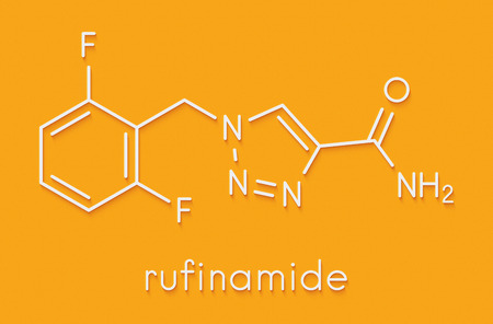 Rufinamide seizures drug molecule. Skeletal formula. Stock Photo