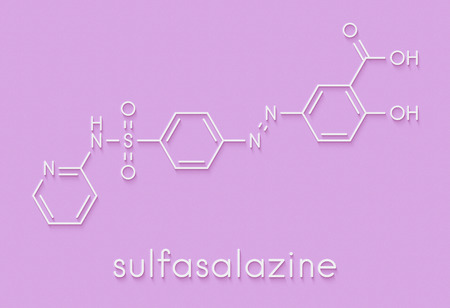 Sulfasalazine drug molecule. Used in treatment of rheumatoid arthritis and inflammatory bowel disease (Crohns disease and ulcerative colitis). Skeletal formula.